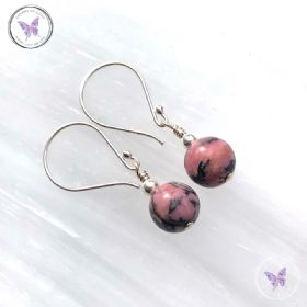 Classical Rhodonite Silver Earrings